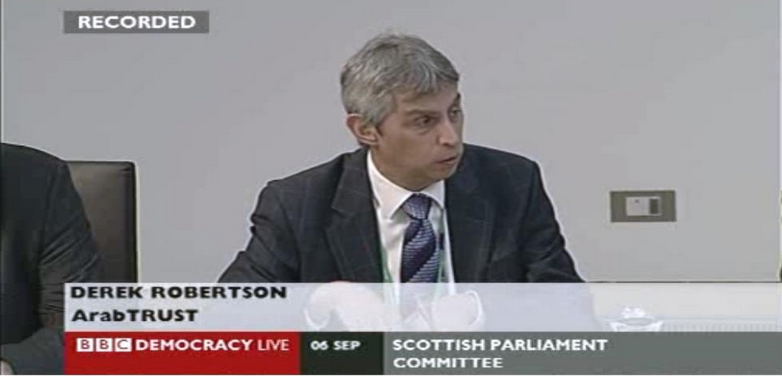 Derek representing ArabTRUST at a Scottish Parliament Committee debate on the  Offensive Behaviour at Football and Threatening Communications Bill  in September September 2011.