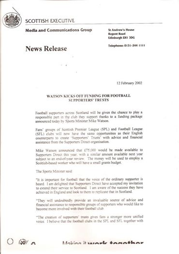 12th February 2002 – Funding for football supporters' trusts
