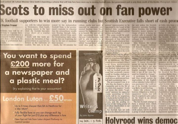 23rd January 2000 – Scotland on Sunday