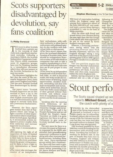 4th June 2000 –Sunday Herald: Scots supporters disadvantaged by devolution, say fans coalition