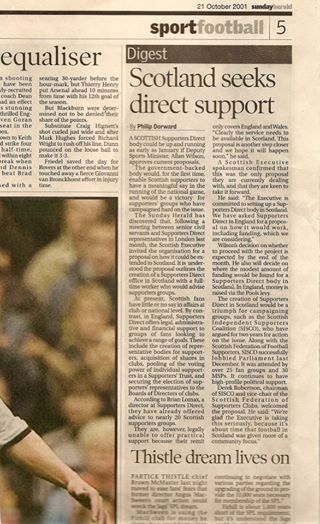 21st October 2001 – Sunday Herald: Scotland seeks direct support
