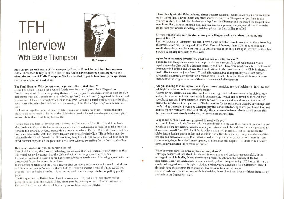 The Final Hurdle fanzine (issue 45) February 1999. Bottom right: What are your views on ordinary fans owning shares?