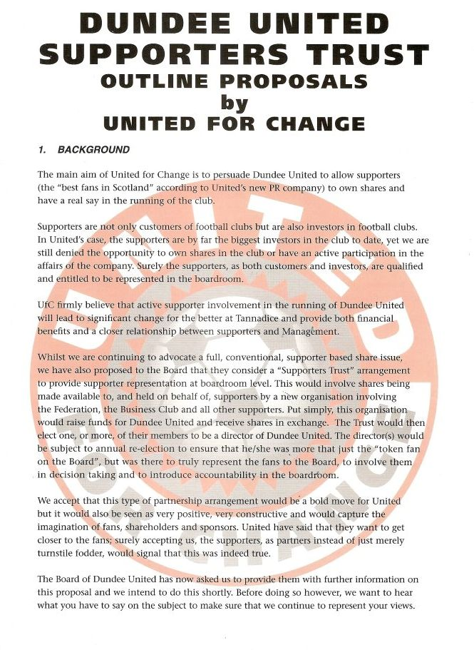 UNITED for CHANGE 1998. Pressure group UNITED for CHANGE gathered pace throughout the year.