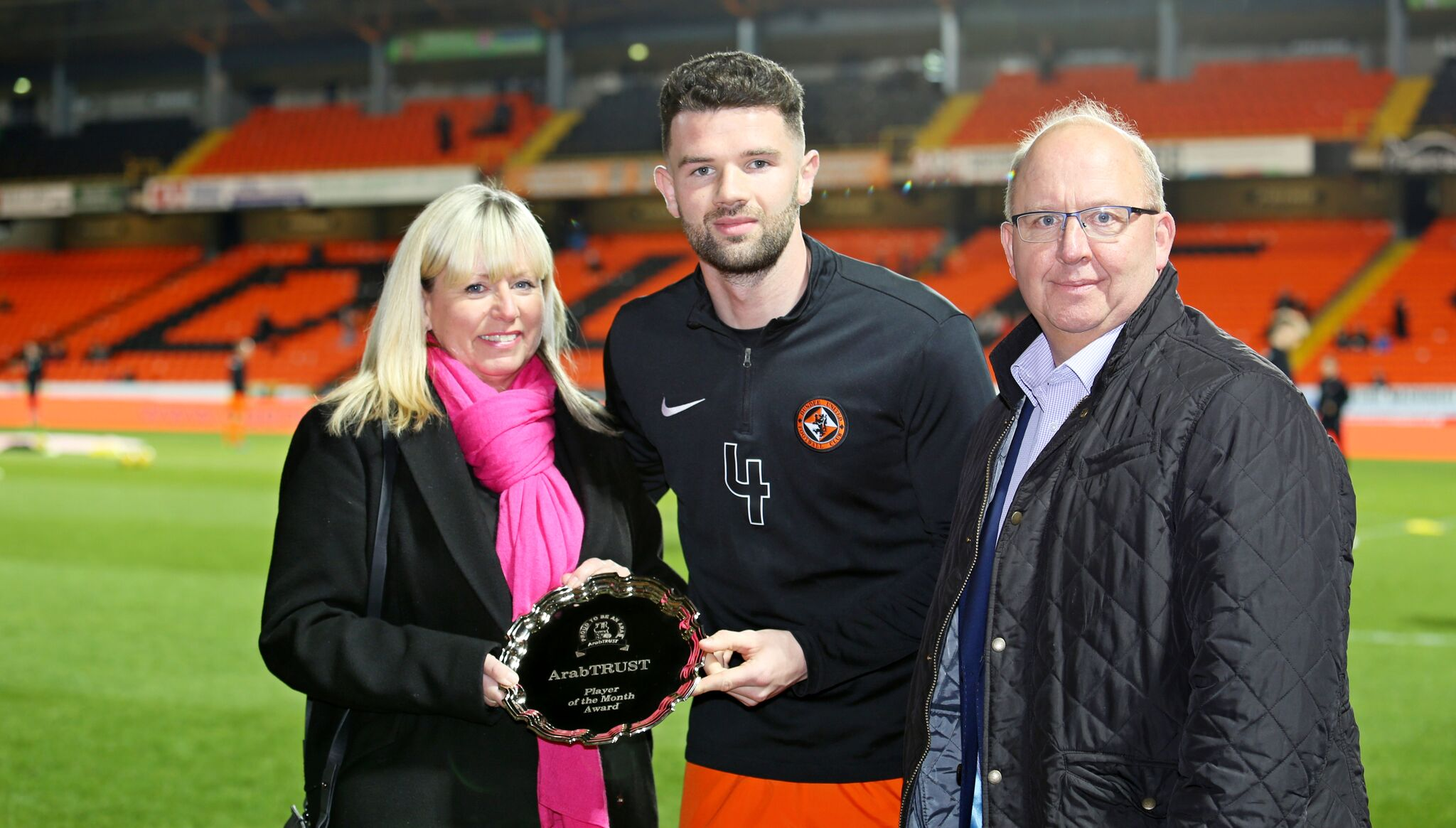 Mark Durnan Receiving his ArabTRUST Player of the Month Award for February